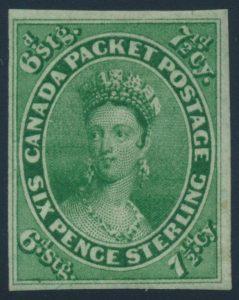 Lot 22 Canada #9 1857 7½d Green Queen Victoria Imperforate, mint with full original gum