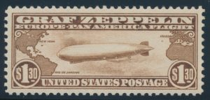 Lot 229 United States #C14 1930 $1.30 Brown Graf Zeppelin, XF NH, PSE graded Gem 100, Mint OG nh
