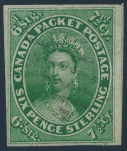 Lot 23 Canada #9 1857 7½d Green Queen Victoria Imperforate, used with light grid cancel