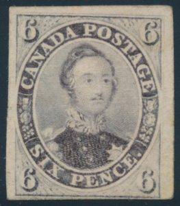Lot 25, Canada 1857 six pence reddish purple Consort, Fine mint o.g.