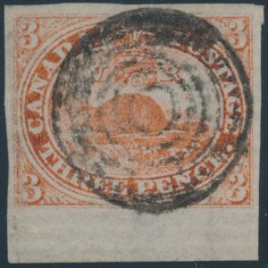 Lot 302, Canada 1851 three pence red Beaver on laid paper, VF used