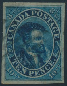 Lot 341, Canada ten pence blue Cartier on thin crisp paper, XF used