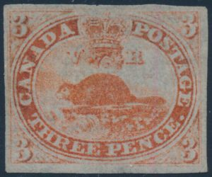 Lot 4, Canada 1851 three penny orange red Beaver on laid paper, VF unused
