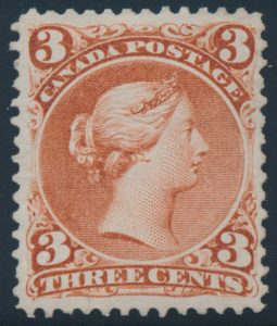 "Lot 429, Canada 1868 three cent red Large Queen on thick soft white ""blotting"" paper, F-VF n.g."