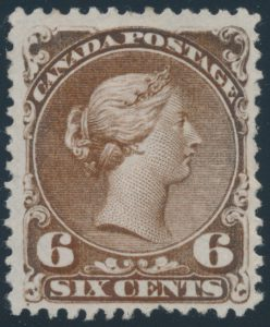 Lot 54, Canada 1868 six cent dark brown Large Queen on watermarked paper with major re-entry, F-VF unused n.g.