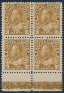 Lot 567, Canada 1925 ten cent bistre brown Admiral F-VF mint block of four with full Type D lathework