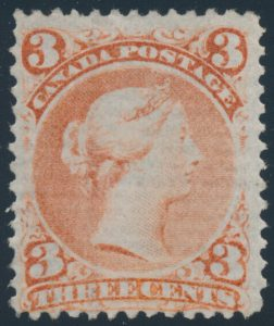 Lot 59, Canada 1868 three cent red Large Queen on laid paper, Fine unused