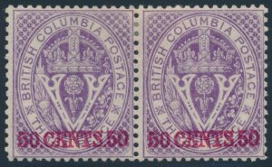 Lot 808, British Columbia & Vancouver Island 1867 three pence violet Seal of BC surcharge, Fine o.g. pair