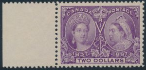 Lot 89 Canada #62 1897 $2 Dark Purple Jubilee NH XF with sheet margin at left