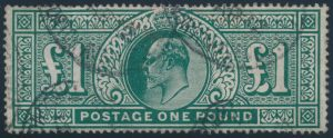 Lot 925, 1902 one pound blue green King Edward VII, VF used