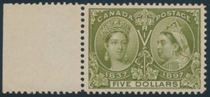 Lot 96 Canada #65 1897 $5 Olive Green Jubilee XF NH, with sheet margin at left