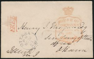 Lot 1004, Canada 1867 letter and cover signed Prime Minister John A Macdonald, sold for C$6,084