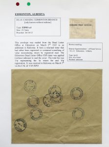 Lot 1098, Edmonton Dead Letter Office postmarks collection, 1911-1945, sold for C$585