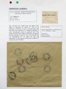 Lot 1098, Edmonton Dead Letter Office postmarks collection, 1911-1945, sold for C$585