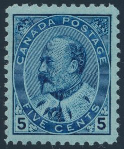 Lot 115, Canada five cent blue King Edward VII on bluish paper, VF NH, sold for C$643