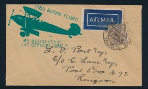 Lot 1426, 1928 Calcutta to Rangoon flight covers, sold for C$702