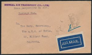 Lot 1435, 1929 First Experimental Flight Bengal Air Transport Co., Darjeeling to Calcutta, sold for C$2,340