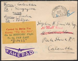 Lot 1437, 1929 Baron von Koenig Calcutta to Singapore, Osaka and Tokyo flight cover, sold for C$1,755