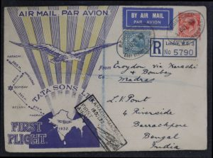 Lot 1511, 1932 Madras to Karachi and back, first flight set from Croydon England, sold for C$1228