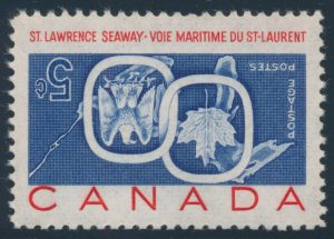 Lot 190, Canada 1959 five cent St. Lawrence Seaway with inverted centre, VF NH, sold for C$10,530