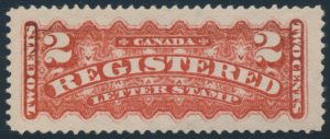 Lot 192, Canada 1888 two cent deep rose carmine Registration, XF NH, sold for C$1,462