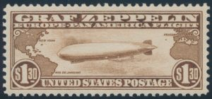 Lot 229, United States 1930 $1.30 brown Graf Zeppelin, XF NH, sold for C$5,382