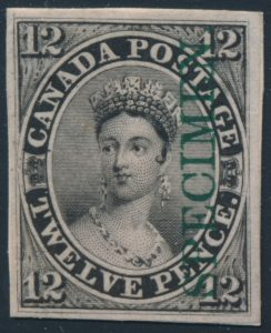 Lot 320, Canada twelve penny black plate proof with vertical SPECIMEN in green, sold for C$4,914