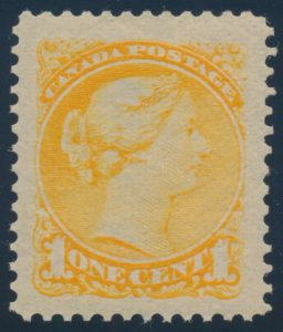 Lot 447, Canada 1890s one cent yellow Small Queen, Ottawa Printing, XF NH, sold for C$789