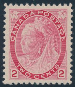 Lot 514, Canada 1899 two cent carmine Queen Victoria Numeral, XF NH, sold for C$321