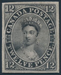 Lot 6, Canada twelve penny black plate proof, sold for C$7,722