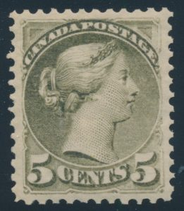 Lot 66, Canada 1875 five cent slate green Small Queen, XF NH, sold for C$4,914