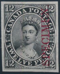 Lot 7, Canada twelve penny black plate proof with SPECIMEN overprint, VF, sold for C$2,223