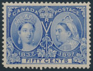 Lot 86, Canada 1897 fifty cent ultramarine Jubilee, XF NH, sold for C$1,462