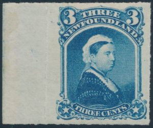 Lot 877, Newfoundland 1877 three cent blue Queen Victoria, mint XF, sold for C$672