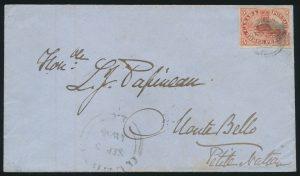 Lot 12, Canada 1855 Three Penny Beaver cover Québec to Monte Bello via Montréal, sold for C$351