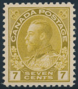 Lot 129, Canada 1916 seven cent yellow ochre Admiral, XF NH, sold for C$321