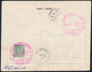 Lot 1386A, 1911 World's First Official Air Mail Flight, Allahabad to Naini Junction then Calcutta, sold for C$4,680