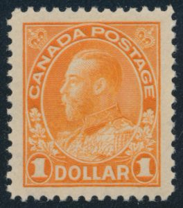 Lot 139, Canada 1925 one dollar orange Admiral, Dry printing, XF NH, sold for C$789