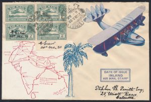 Lot 1443, 1929 first day of issue India 2a Airmail stamp on cover, sold for $2,223