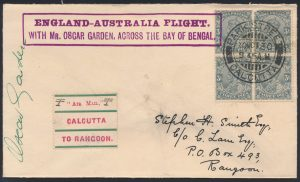 Lot 1458, 1930 England to Australia flight cover, Calcutta to Rangoon, sold for C$1462