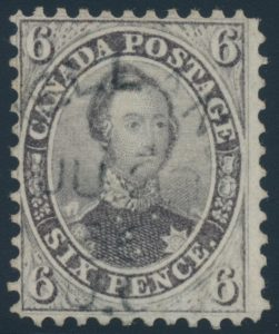 Lot 33, Canada 1859 six pence brown violet Consort, F-VF with Welland UC cancel, sold for C$4,680