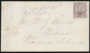 Lot 39, Canada 1865 ten cent red lilac Consort cover Hyde Park Corner to Victoria BC, sold for C$2,106