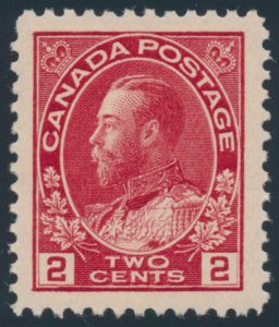 Lot 553, Canada 1911 two cent deep rose red Admiral, XF NH, sold for C$222