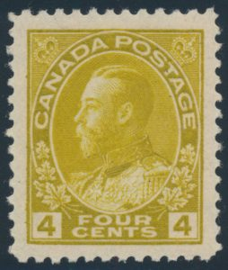 Lot 559, Canada 1922 four cent olive yellow Admiral, XF NH, sold for C$848