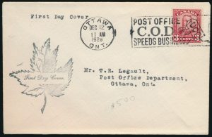 Lot 603, Canada 1928 three cent Scroll First Day Cover, VF