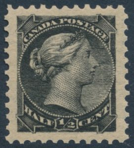 Lot 62, Canada 1890s half cent black Small Queen, XF NH, sold for C$245