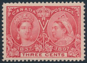 Lot 79, Canada 1897 three cent bright rose Jubilee, XF NH, sold for C$409
