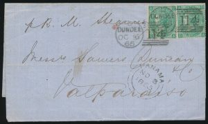 Lot 841, Great Britain 1865 Folded Letter From Scotland to Chile Via Panama