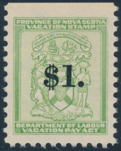 Lot 331, 1958 Nova Scotia $1 Vacation Pay Stamp, VF NH