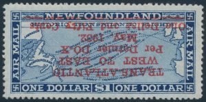 Lot 379, Newfoundland 1932 $1.50 on $1.00 Dornier DO-X with inverted red surcharge, VF
